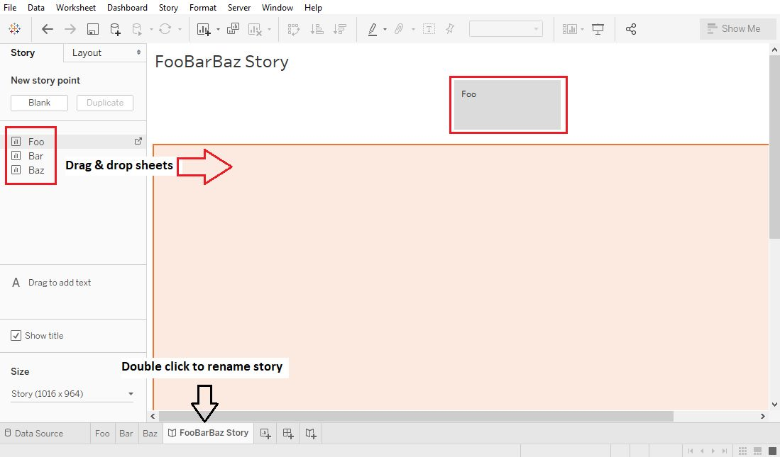 Tableau Create Story Step 2